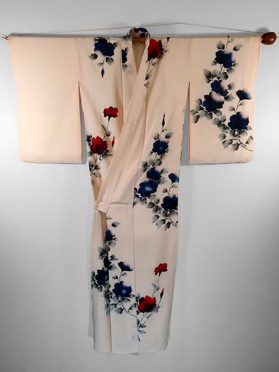 Cream Plain Crepe Silk 1970's Vintage Japanese Kim