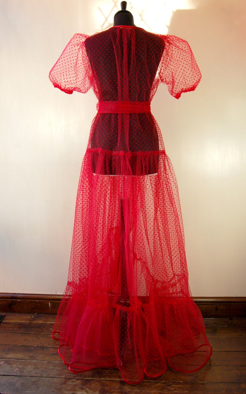 Gabriella Red spot tulle Peignoir with puff sleeves