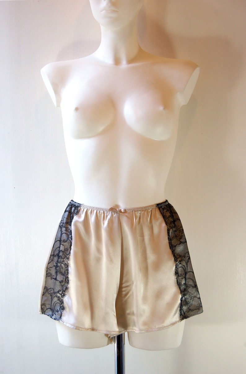 7ec125911ca Classic French Knickers in Latte Silk Charmeuse with Black