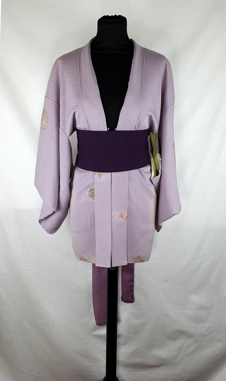 Upcycled Kimono Obi Aubergine Purple Silk Sayagata Cummerbund image 0