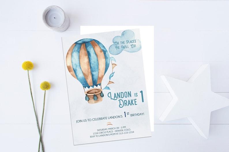 First Birthday Invitation Balloon Invitation Blue Invitation The Places he/'ll Go Boy  5X7   PRINTABLE Hot Air Balloon Invitation