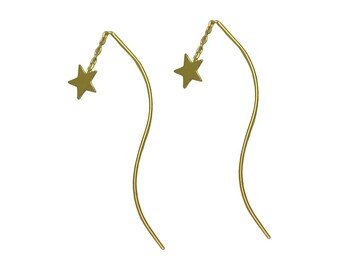 Sterling Silver Star Chain Thread through Earrings Pull through Earrings Ear Thread Dangles Jewelry Finding ID37576