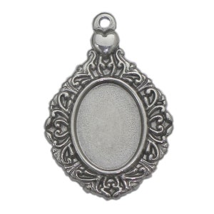Vintage silverbrass cabochon settings 2518mm oval pendant blanks cameo bases PTO28-A1493-23115