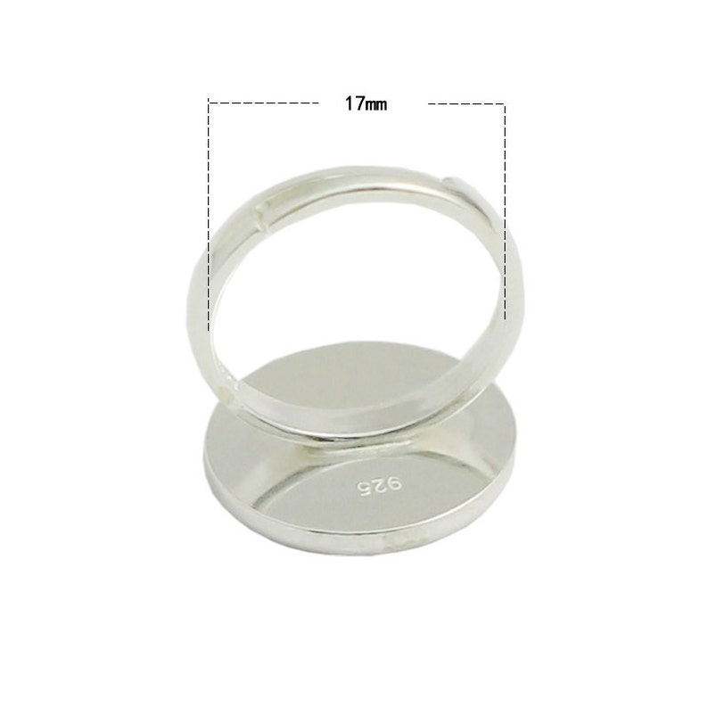 Antique Silver Plated Brass G15298 Silver Ring Setting Resin Ring Blank Cabochon Base inlay Ring Mounting Adjustable Ring Base Bezel 8 mm