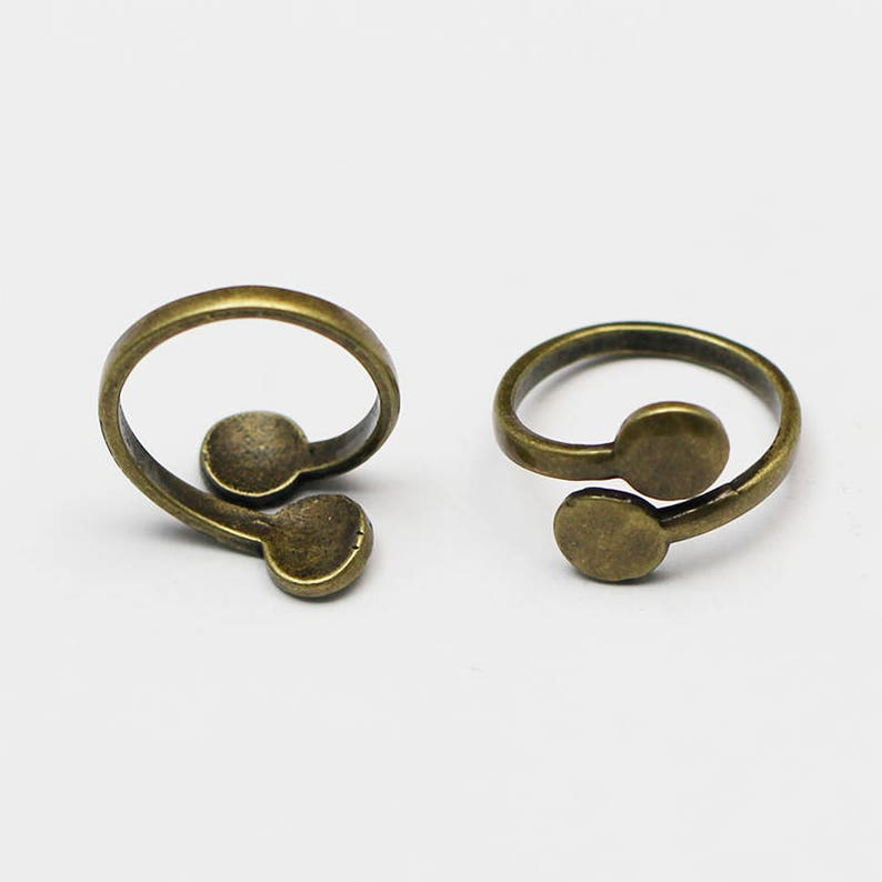 10Pcs Brass Adjustable Rings Blank 10mm Base Pad Jewelry Making DIY Craft