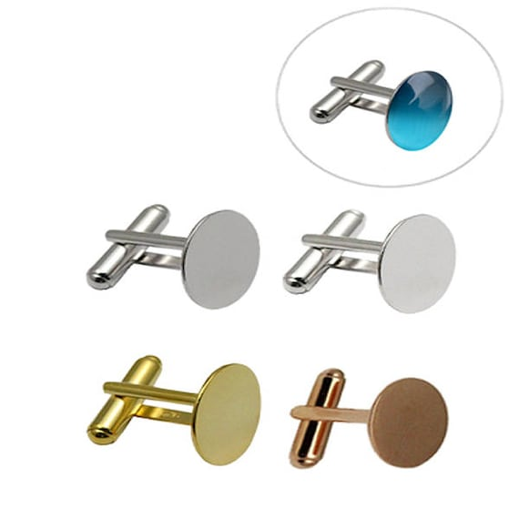 Pair Round Blank Cufflinks Fit 12mm Cabochons Mens Cuff Links Settings Findings