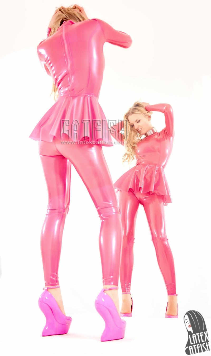 Beautiful Natural Latex Catsuit with Attached Skirt Women | Etsy