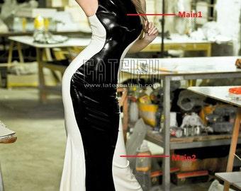 Fashion Lady Latex Evening Dress,Long Latex Dress