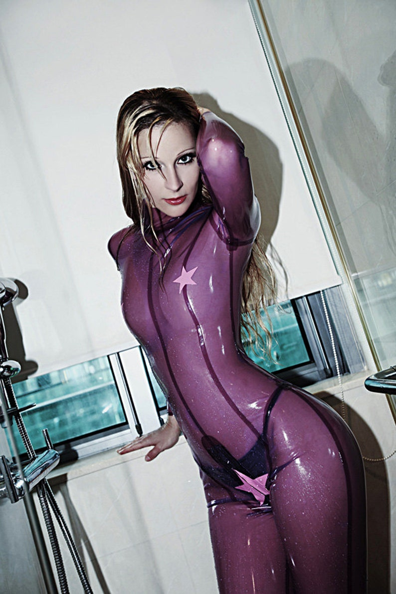 Feeling Starry   Neck entry woman tight latex catsuit with crotch zipper