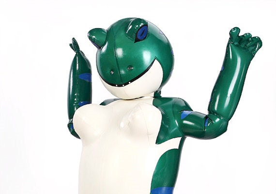 Inflatable latex suits
