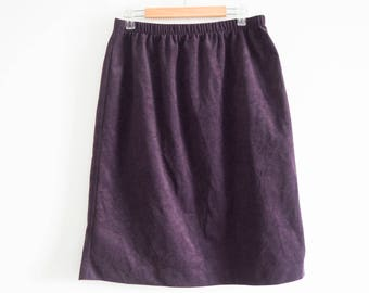 90's purple faux suede pencil skirt - size small/medium - vintage