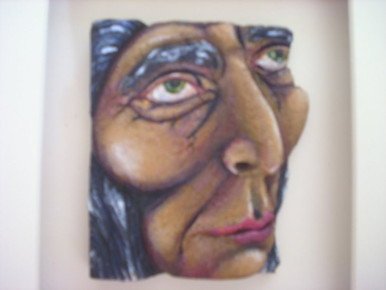 Old Native American Grandmother Willow balsa foam carving