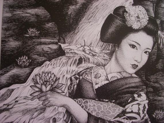 Stylo A Encre Beau Dessin Dun Maiko Japonais Geisha Etsy