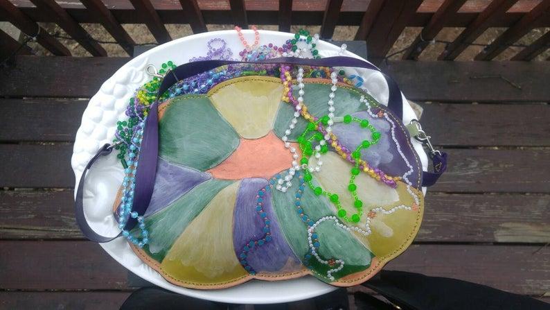 Mardi Gras King Cake Convertible Purse Handbag