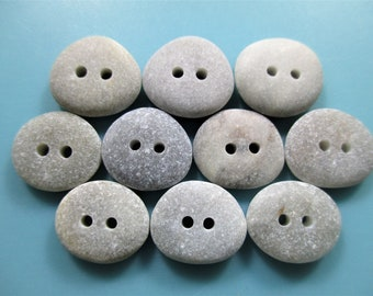 BEACH STONE 13mm BUTTONS 10 Flawless 2 Hole White Cream Real Surf Tumbled Natural Greek Rock Sewing Knitting Crochet Pebble Button  Peb 2124