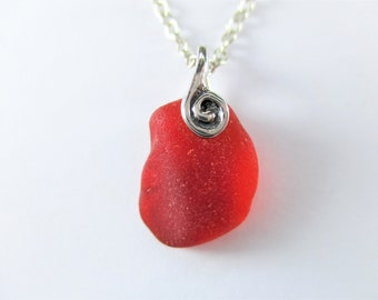 Lot T3 Upcycled Seaglass For Jewelry Crafts Undrilled Jewelry Supply Rare Bright Red and Orange Amberina Seaglass Charm Eco Friendly