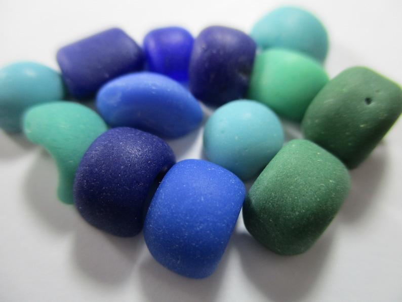 GENUINE SEA GLASS 13 Vintage Bead Partials Cobalt Blue Turquoise Green Surf Tumbled Unaltered Undrilled Beach Seaglass Milkglass Beads U 997
