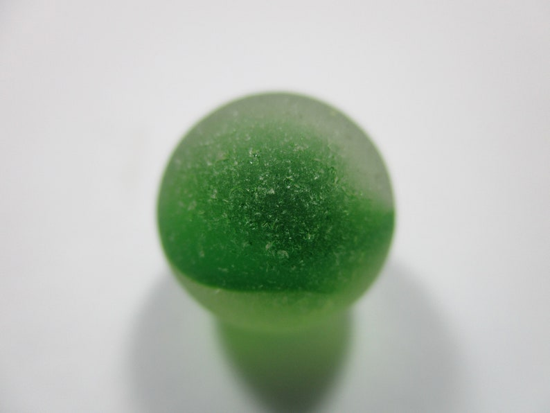 GENUINE SEA GLASS 13mm Marble Flawless Lime Green Cats Eye Real Surf Tumbled Natural Unaltered Beach Seaglass Undrilled Ball Bead  U 459b