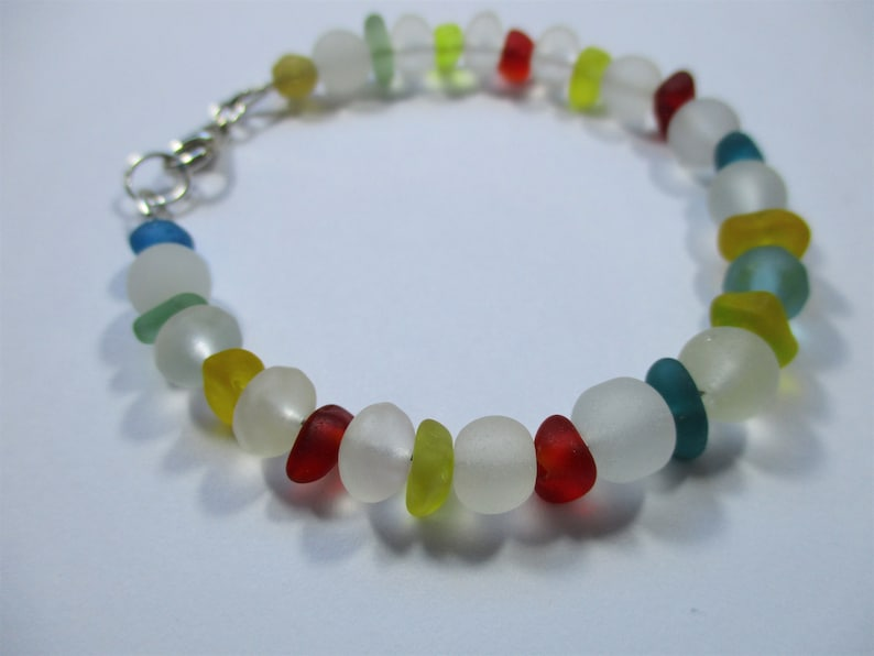 GENUINE SEA GLASS Bracelet Red Blue Yellow Teal Turquoise Vintage Beach Found Beads Real Surf Tumbled Sterling Silver Seaglass Jewelry B 479