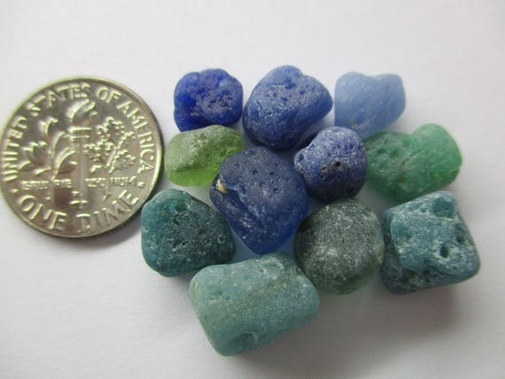 GENUINE SEA GLASS 3 Marble Cods 11mm Flawless Pale Blue Green Yellow Surf Tumbled Vintage Authentic Unaltered Natural Beach Seaglass  U 981
