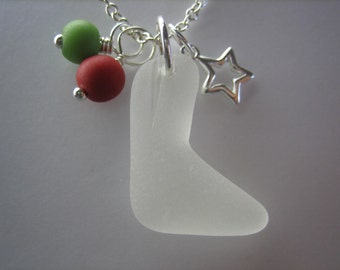GENUINE SEA GLASS Necklace Sterling Silver Star Red Green Beach Found Beads Surf Tumbled White Holiday Stocking Seaglass Jewelry N 708c