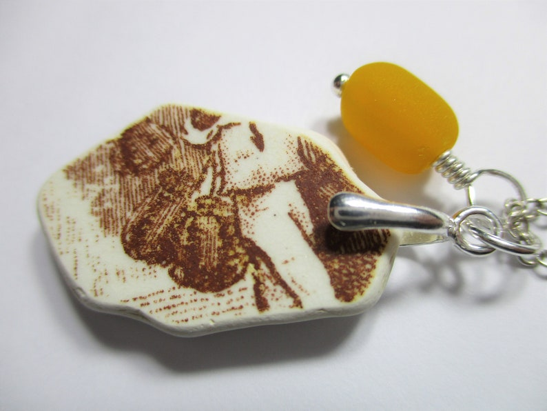 BEACH SEA POTTERY Necklace Sterling Silver Surf Tumbled Fire Yellow Vintage Sea Glass Bead Brown Beach Found Shard Pendant Jewelry  N 859