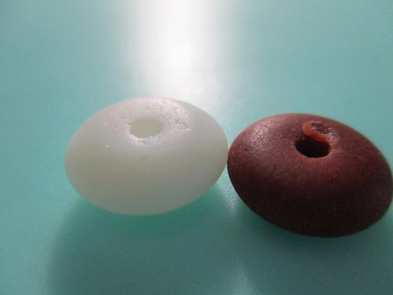 GENUINE SEA GLASS 2 Vintage Beach Found 12mm Beads Chocolate Brown White Real Surf Tumbled Milkglass Seaglass Rondelle Jewelry Bead  U 890