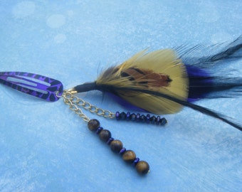 Feathered Hair Clip in Purple and Gold