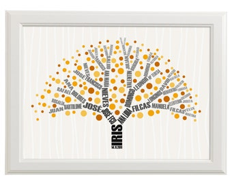 genealogical tree with genealogy in branches baby wall art print for nursery decoration