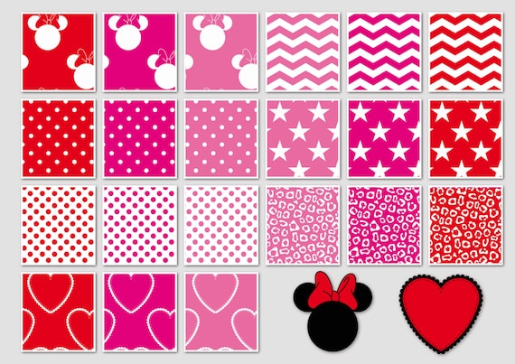 016 Minnie Mouse Inspired Digital Paper Pack For Scrapbooking Etsy