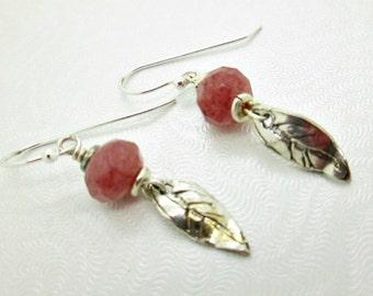 Dainty Leaf Drop Earrings, Muscovite Gemstone Earrings, Sterling Silver Earrings