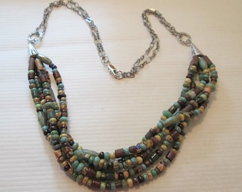 Rustic Southwest  Multistrand Beaded Necklace
