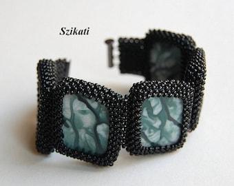 Elegant Beaded Bracelet, Statement Beadwoven Cuff Bracelet, Original Beadwork, High Fashion Jewelry, Women's Accessory, Gift for Her, OOAK