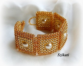 Beaded Gold Bracelet, Statement Beadwoven Cuff Bracelet with Pearl, Beadwork High Fashion Jewelry, RAW, Women's Accessory, Gift for Her OOAK