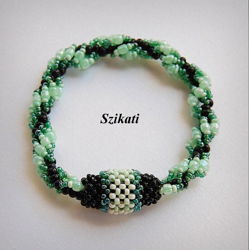 Black Green Beadwoven Cuff Bracelet OOAK Original Beadwork Women/'s Accessory Unique Bead Art Gift For Her Beaded High Fashion Jewelry