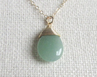 Gold Plated Round Spiral Wrapped Green Aventurine Pendant QTY-1 RS7DG