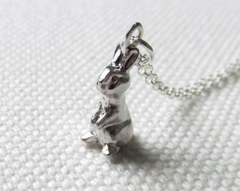 Tiny Rabbit Charm Necklace Cute Bunny Pendant Sterling Silver or Rhodium Chain Woodland Animal Jewelry