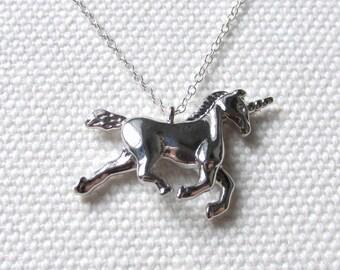 Silver Unicorn Necklace Fantasy Jewelry Gift For Friend Sterling Silver Chain Cute Quirky Dainty Unicorn Pendant