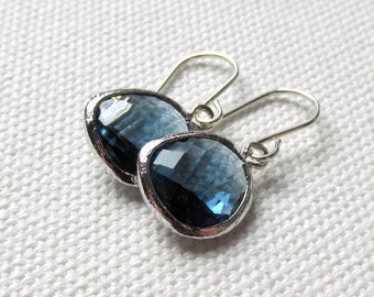 Navy Blue Earrings Blue Dangle Earrings Sterling Silver Hooks Minimal Earrings Navy Bridesmaid