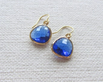 Cobalt Blue Earrings, Modern Gold Dainty Dangle Earrings, Bridal, Minimalist