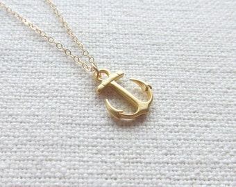 14k Gold Fill Chain Anchor Necklace, Gold Nautical Jewelry, Dainty Charm