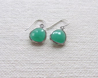 Jade Green Dangle Earrings, Silver Dainty Earrings