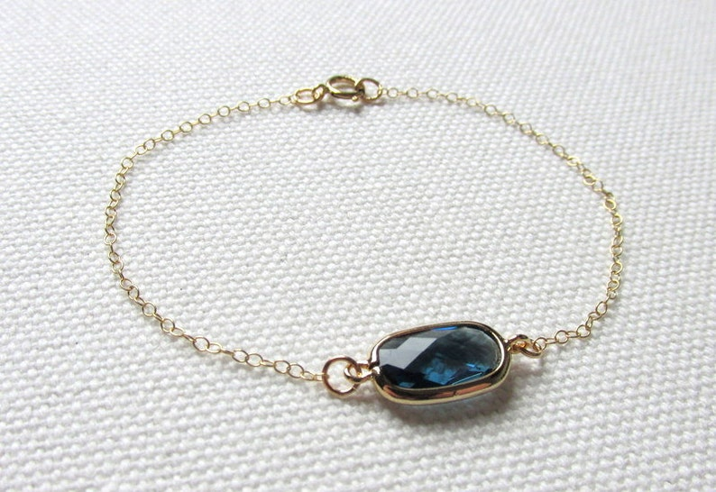 Montana Blue Bracelet Thin Gold Chain Navy Blue Sapphire Jewelry Bridesmaid Wedding Dainty Modern Jewelry Blue Crystal