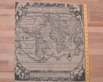 printed linen panel with vintage atlas design