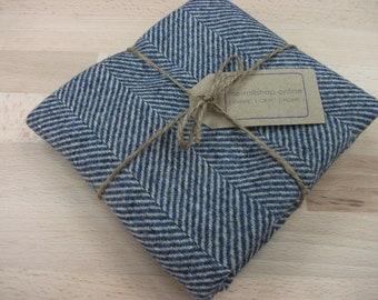 herringbone tweed fat quarter - 100% wool - blue/grey