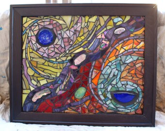Abstract Glass Mosaic Wall Art With Abalone Recycled Materials SALE