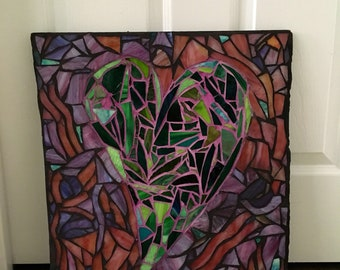 Green Glass Mosaic Heart with Pink Background - Mom's Heart