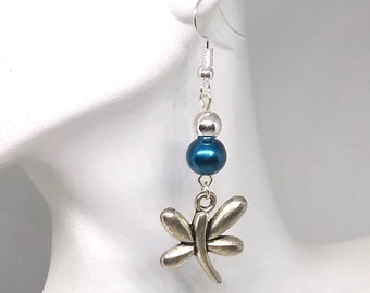 Blue and Silver Butterfly Dangles