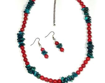 Turquoise and Coral Beaded Necklace Set