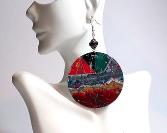 Steam Punk Collision Hand-painted Up-Cycled Earrings